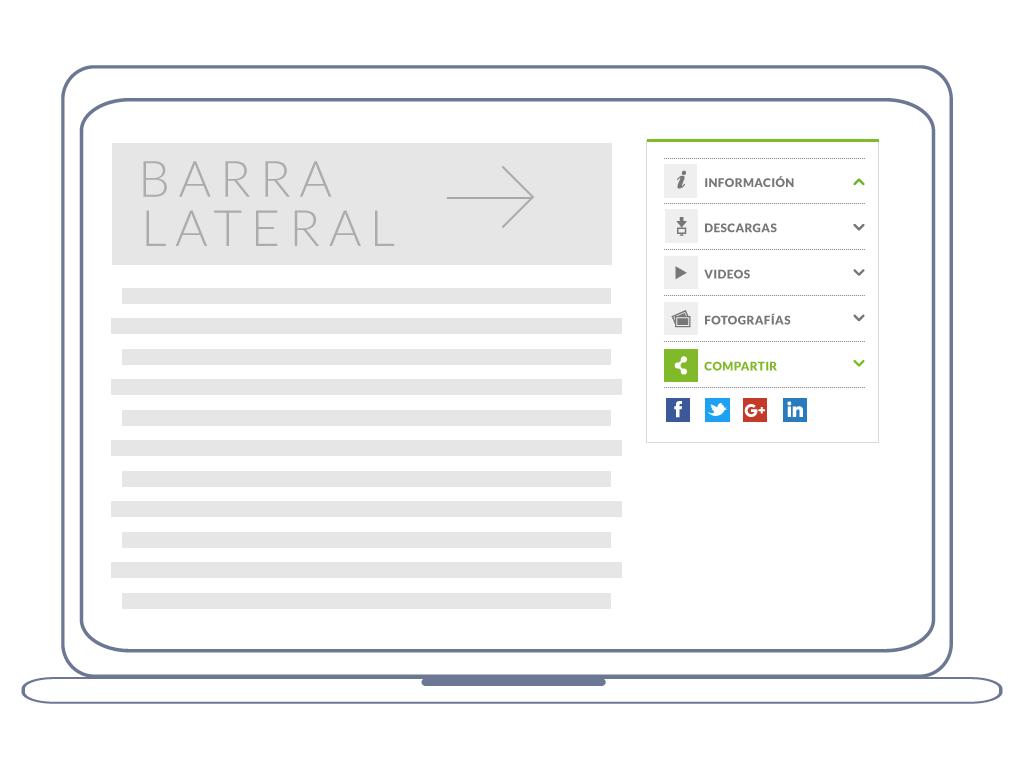 Barra lateral con información destacada: galería fotográfica, videos, descargas y la posibilidad de compartirlo en diferentes redes sociales