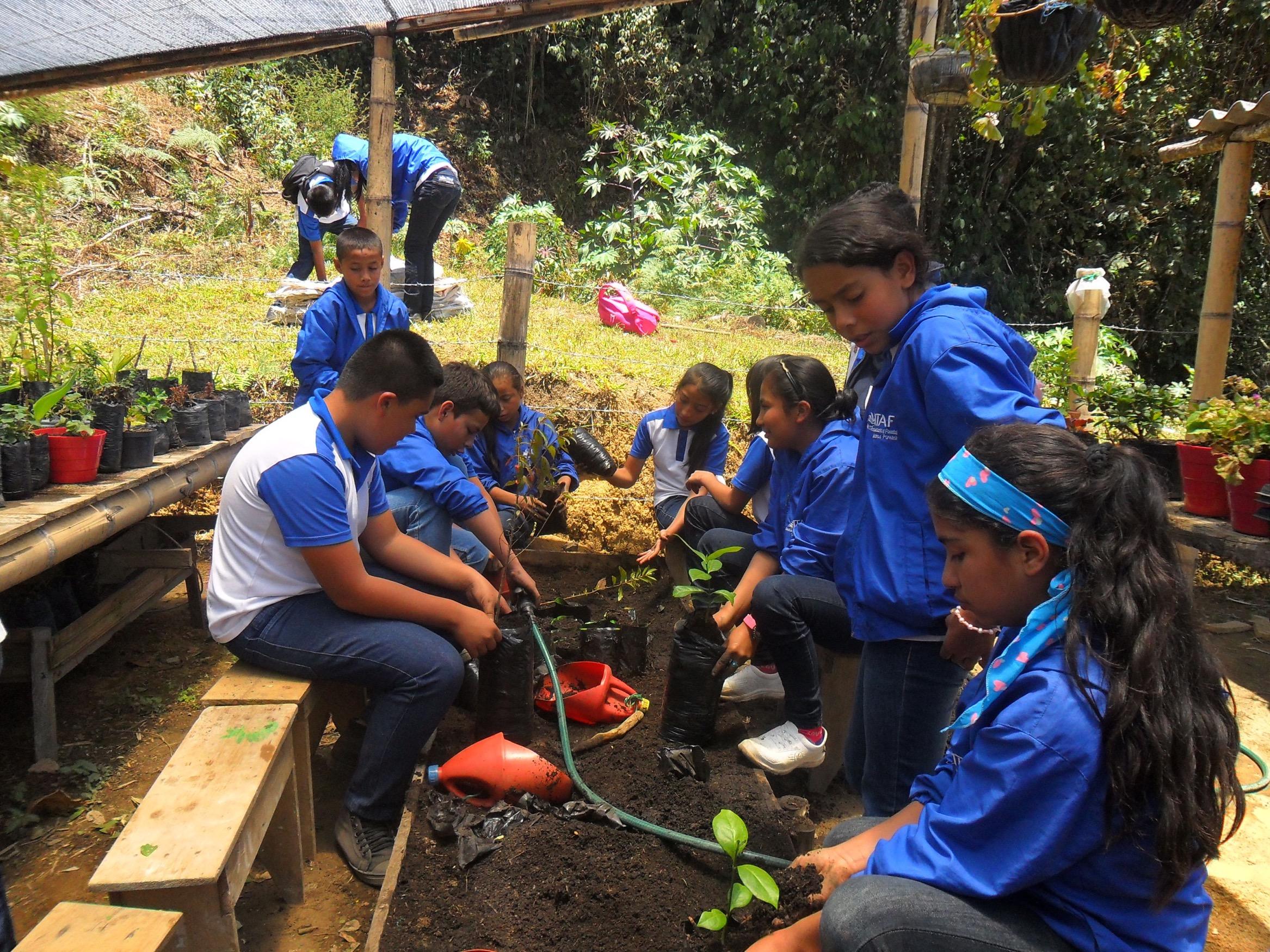 Estudientes ITAF - Práctica en Vivero forestal. Cortesía: Fundación Smurfit Kappa Colombia.