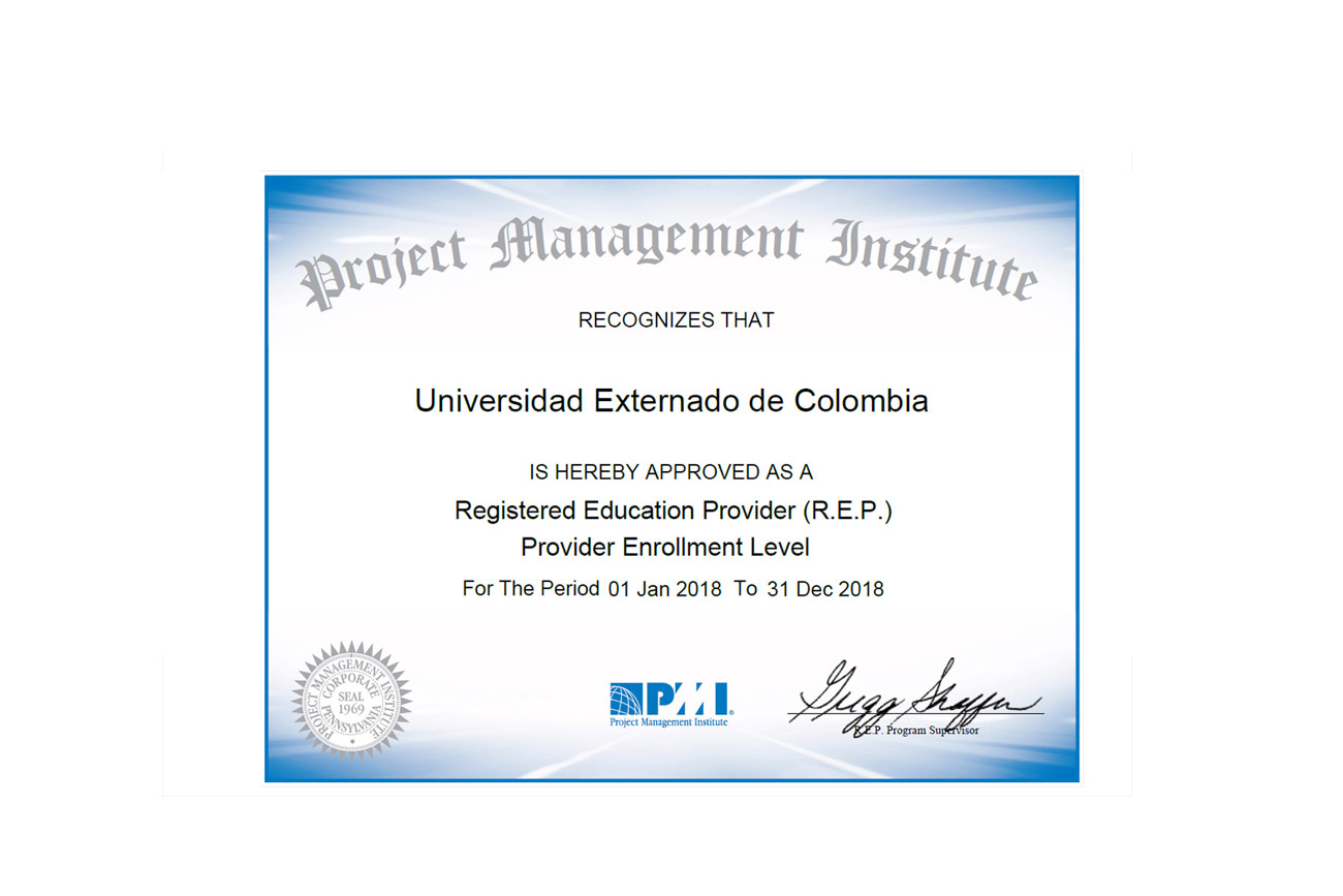 Externado University Obtains Project Management Institute Pmi