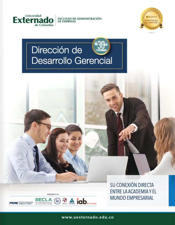 Portada del folleto Dirección de Desarrollo Gerencial, Personas trabajando